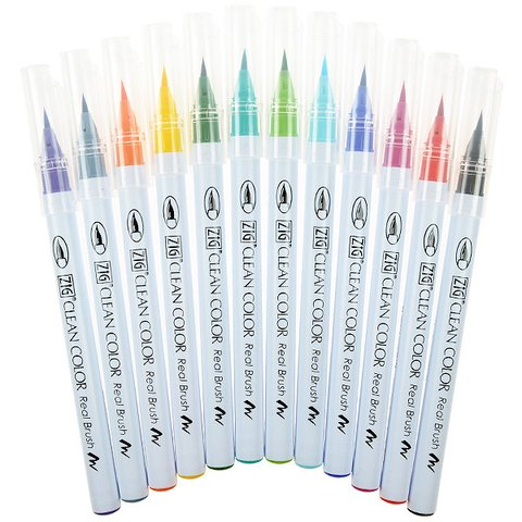 KIT DE 12 MARCADORES CLEAN COLOR REAL BRUSH KURETAKE ZIG - comprar online