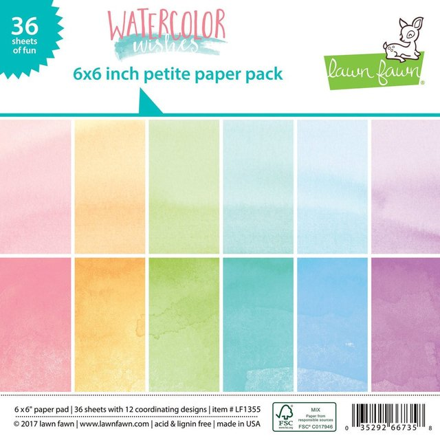 Block Papel Para Scrap 15 x 15 Watercolor Wishes Lawn Fawn