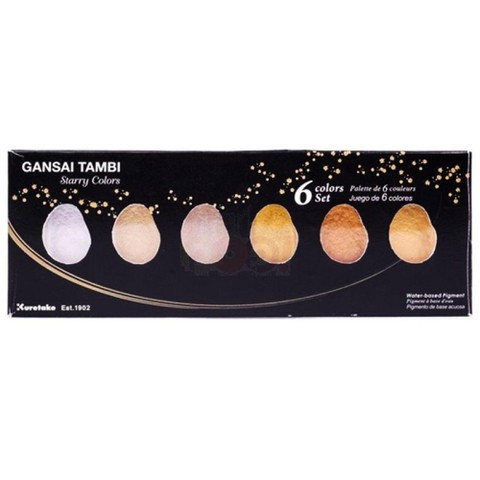 SET DE 6 ACUARELAS BRILLANTES GANSAI TAMBI STARRY COLORS KURETAKE en internet