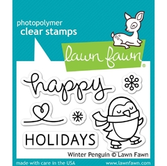 Kit de troqueladora y Sellos Pinguino Invernal Clear Stamp Lawn Fawn 7.6 cm x 5 cm