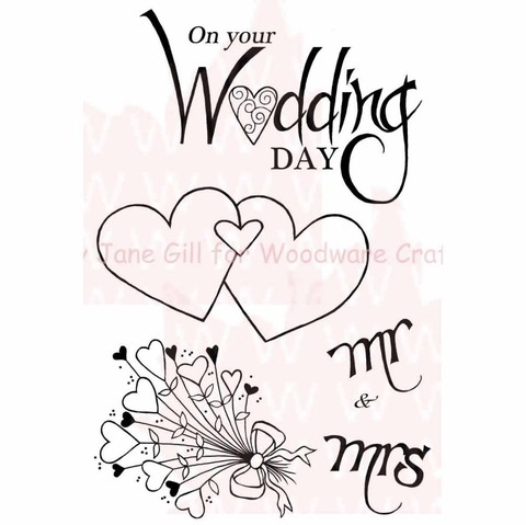 Sello Casamiento Mr. and Mrs. Hearts Woodware Clear Stamps