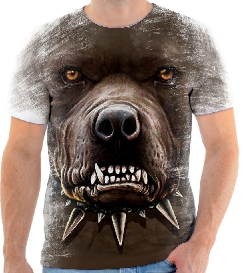 93952b4b88 Camisa Camiseta Animal Cachorro Pitbull Face Arte