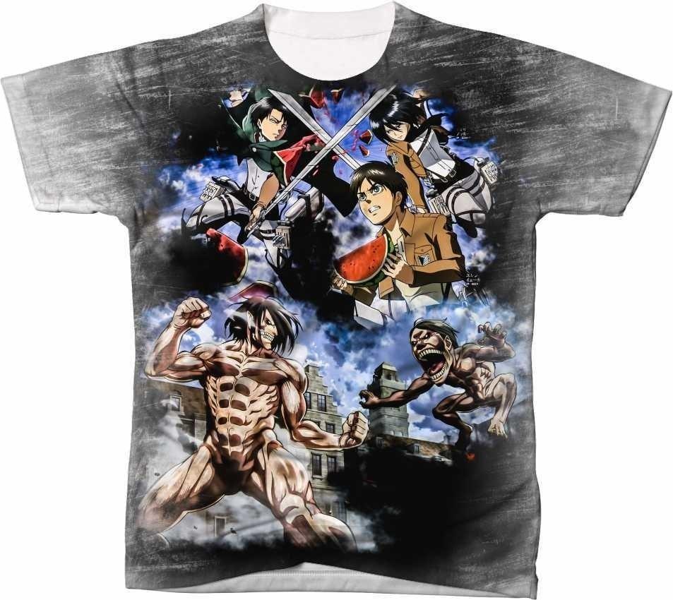 ba246a6d3 Camisa Camiseta Anime Attack On Titan Shingeki No Kyojin 01