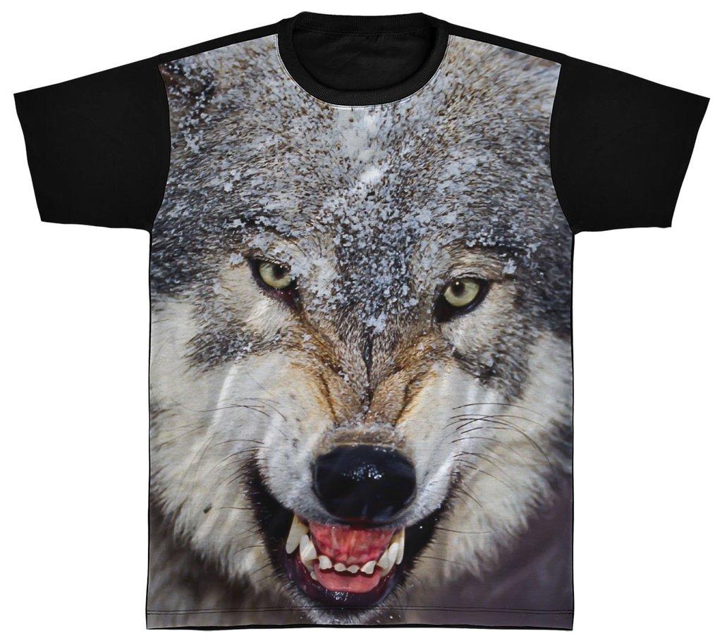a1713376a3 Camisa Camiseta Preta 3D Animal Cachorro Dog Lobo Wolf 3