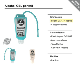 Alcohol en gel con funda para colgar en internet