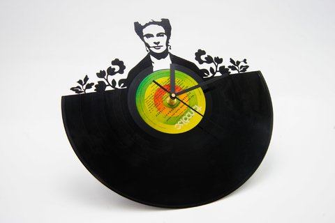 Reloj disco de vinilo retro Frida
