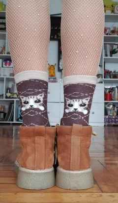 Medias Kitty Marron