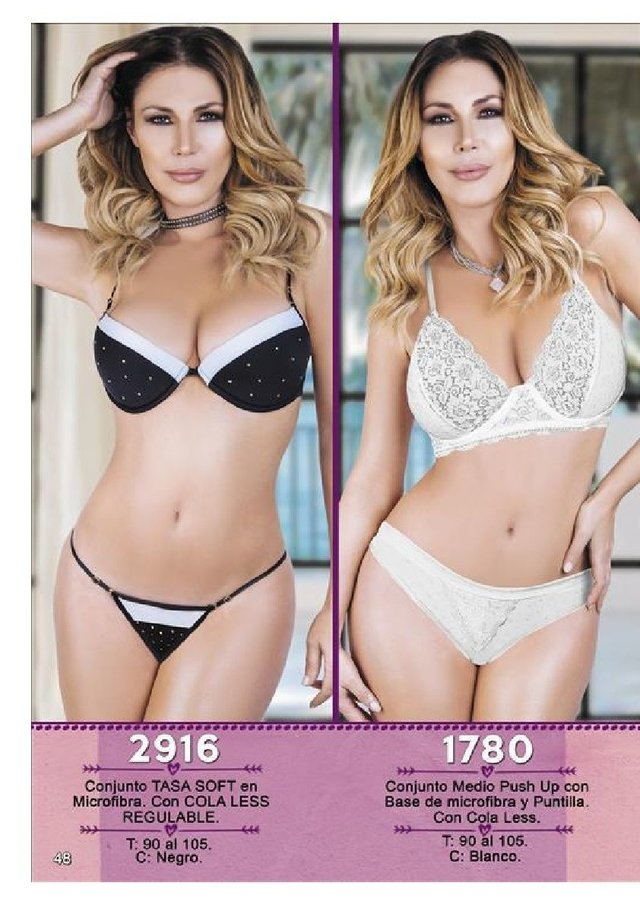 NATUBEL-1780: CONJUNTO MEDIO PUSH UP CON BASE DE MICROFIBRA Y PUNTILLA. COLA LESS