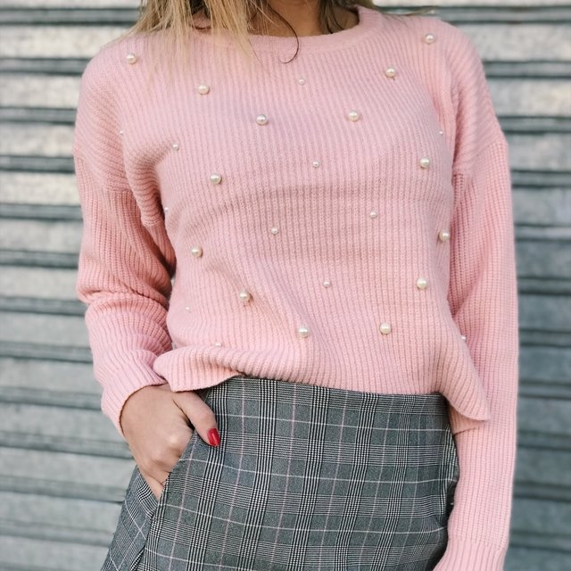 SWEATER PEARLS ROSA