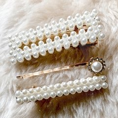 SET HEBILLAS PEARL GOLD
