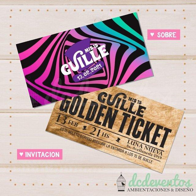 Invitaciones Willy Wonka Ticket dorado