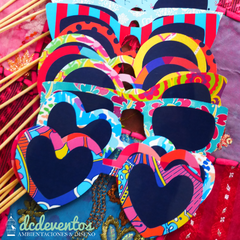 Kit para Photobooth de colores con emoticones - 25 Accesorios para el rincón de fotos