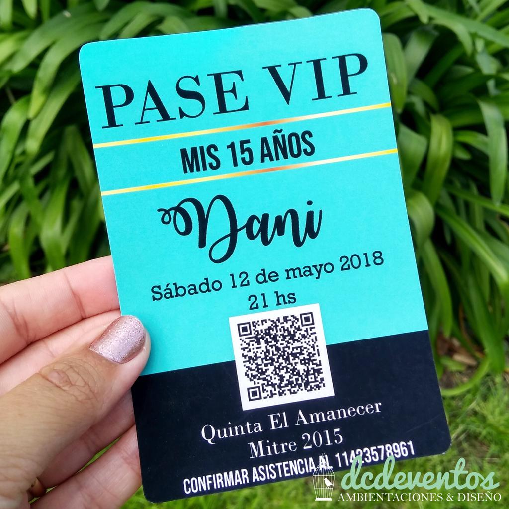 40 Invitaciones Credencial Pase Vip