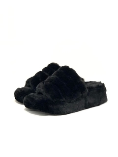 High Slippers Fluffy Negro BOMB en internet