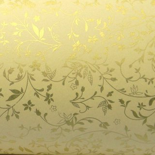 Papel Floral - Bege com ouro -  Ref:03 - Tam: A4 (29,7x21) - 180/m2