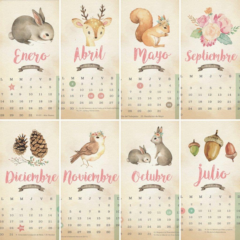 Calendario 2019 Bosque Acuarelas