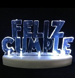 ADORNO TORTA BASE FELIZ CUMPLE ACRILICO LED