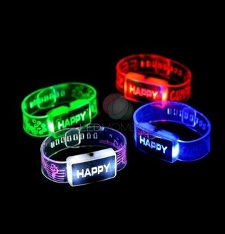 PULSERA BRAZALETE HAPPY LED - Led Cotillon