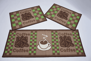 COFFEE GREEN KITCHEN RUG SET