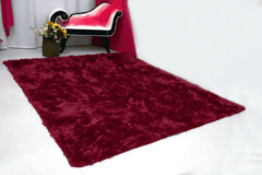 SHAGGY DAPPLE BURGUNDY RED RUG  4.59 x 6.23 Feet