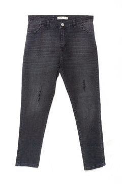 J007 Syes, Jean negro con roturas, Talles grandes