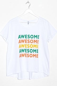 R1092/C Syes, Remera evase estampa Awesome, Talles grandes