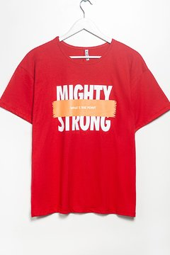R1146/2 Syes, Remera escote manga caidados estampas Mighty Strong, Talles grandes en internet
