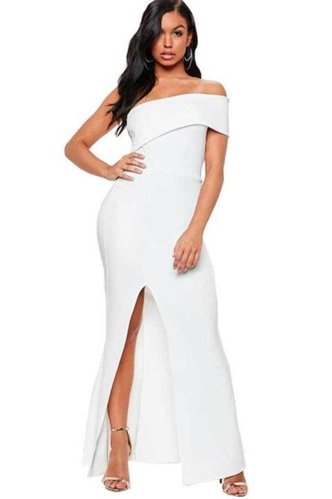 7b71330e3 Vestido Feminino Longo Ombro Nú com Fenda REF  VRP271
