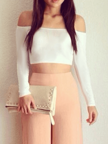 Top Cropped Manga Longa Ombro a Ombro REF: C0008 - comprar online