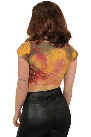 Top Cropped Mangauinha Estampa Galaxia