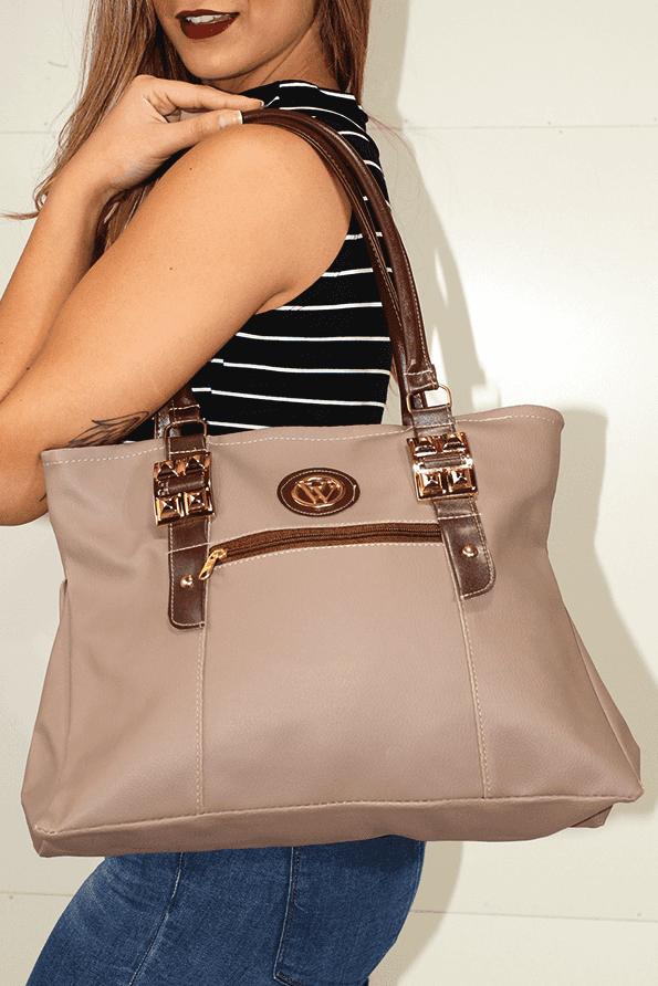 5f0c7fe3a16 Bolsa Feminina Bege com Detalhes em Marrom REF  BT0008 - comprar online