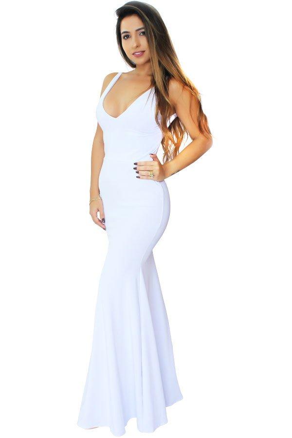 d7c275214 Vestido Longo Decote em V. Festa Branco REF: VRP24