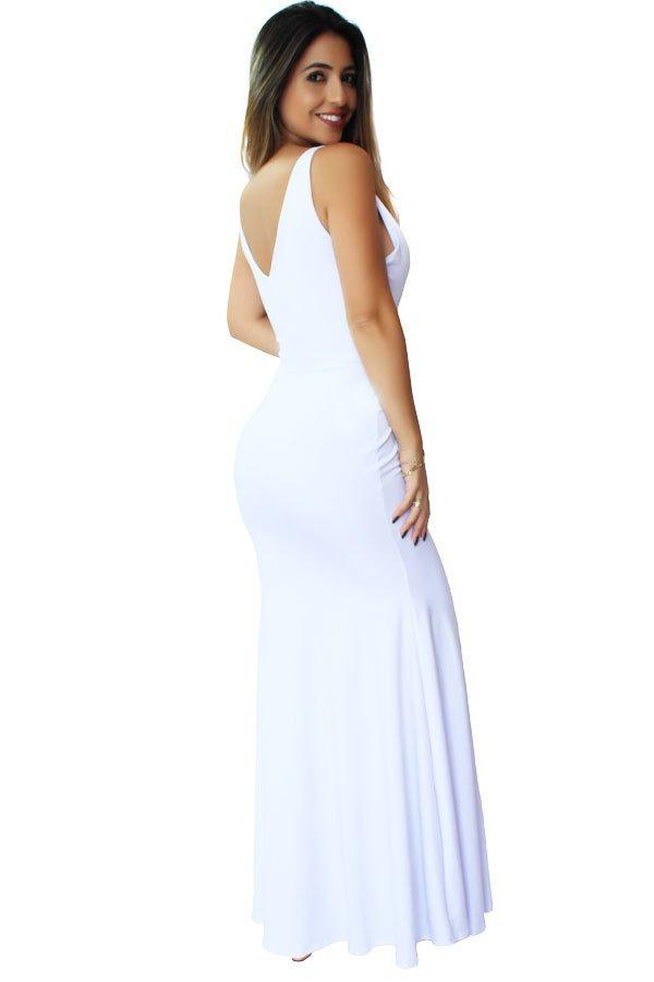 c4c2627c7c ... Vestido Longo Decote em V. Festa Branco REF  VRP24 - comprar online ...