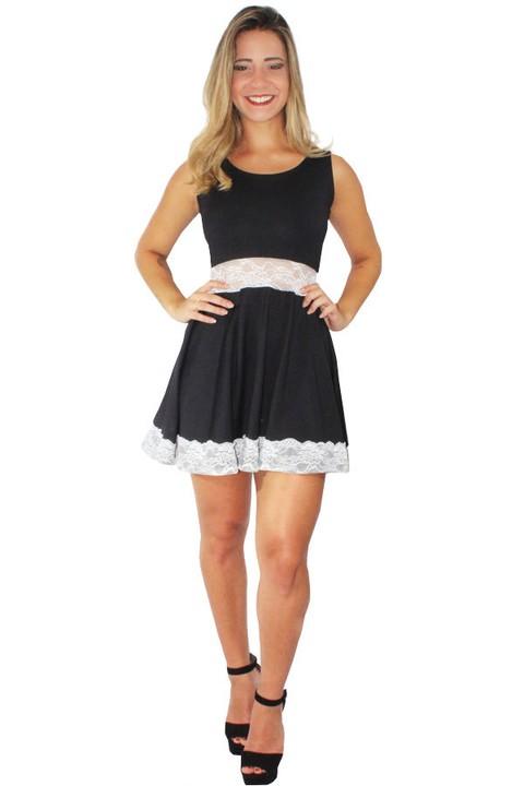 6a505d5009 Vestido Feminino Godê com Renda REF  V0086