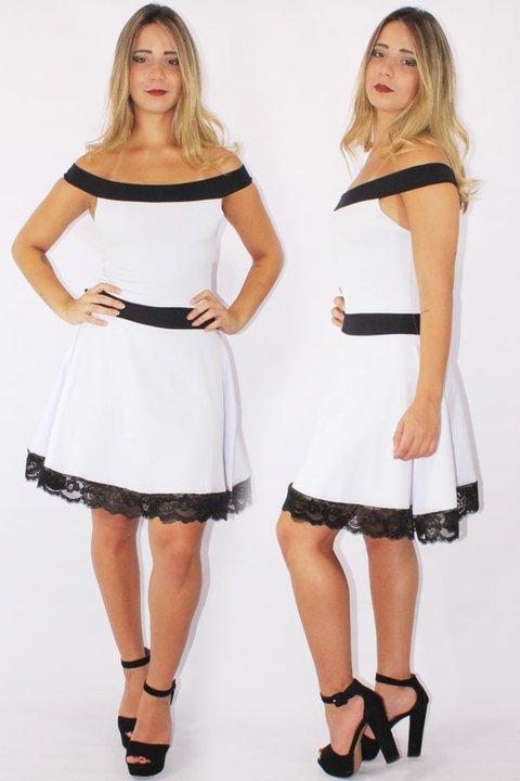 d731a08715 Vestido Feminino Godê com Renda Preto e Branco REF  V0090 - comprar online