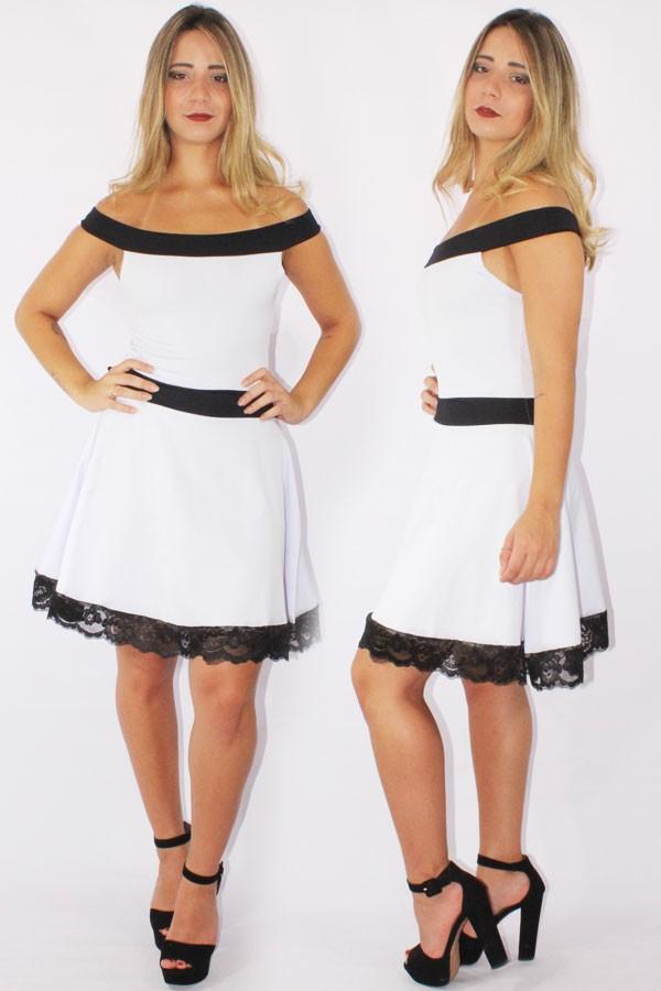 5b7587619 Vestido Feminino Godê com Renda Preto e Branco REF: V0090 - comprar online