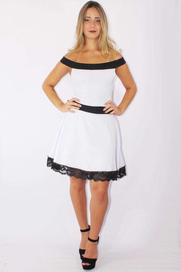 212144250 ... Vestido Feminino Godê com Renda Preto e Branco REF: V0090 na internet  ...