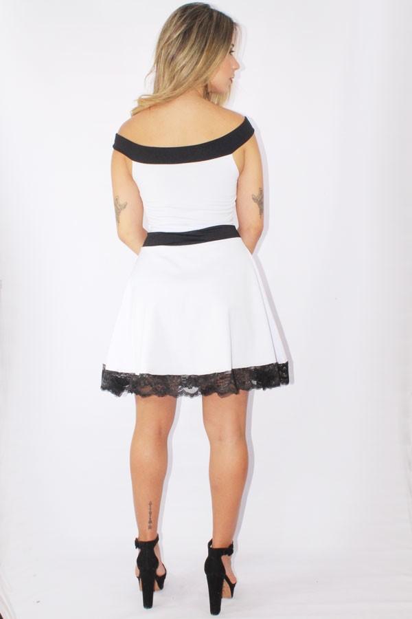 53995e1f06 ... Vestido Feminino Godê com Renda e Laço Preto e Branco REF  V0089 - loja  online