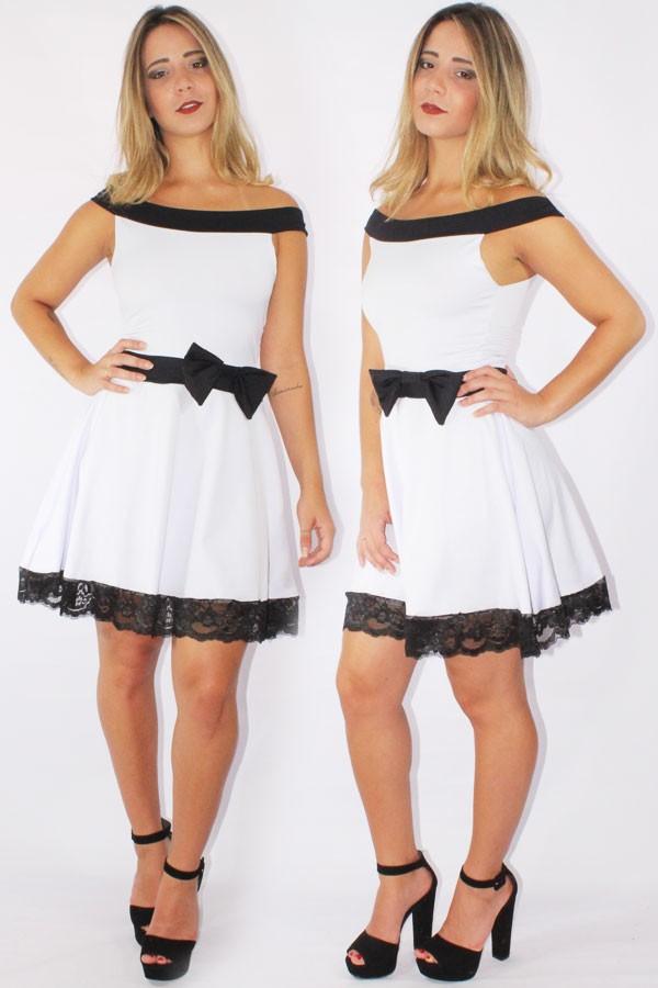 4f2334b97e Vestido Feminino Godê com Renda e Laço Preto e Branco REF  V0089 - comprar  online
