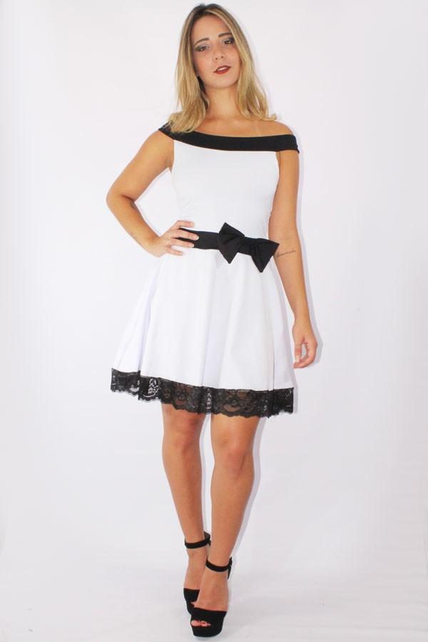 d64e6f48f6 ... comprar online Vestido Feminino Godê com Renda e Laço Preto e Branco REF   V0089 na internet ...