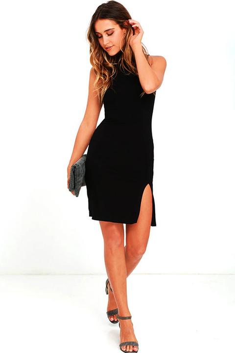940491a4e9 Vestido Feminino Curto Gola Alta Fendinha Lateral REF  V0062 - comprar  online