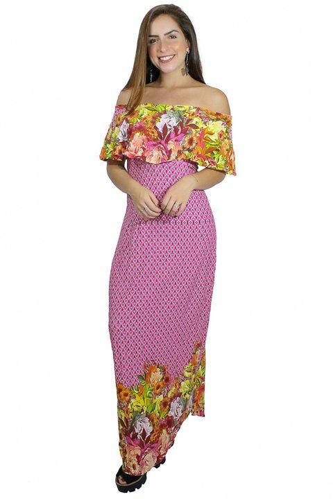 cbce616aa Vestido Longo com Babado Estampa Floral REF  V00228 - comprar online