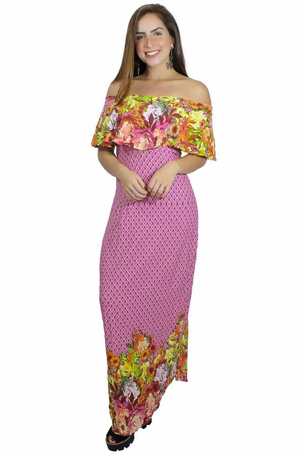 224f4cf71 Vestido Longo com Babado Estampa Floral REF: V00228 - comprar online