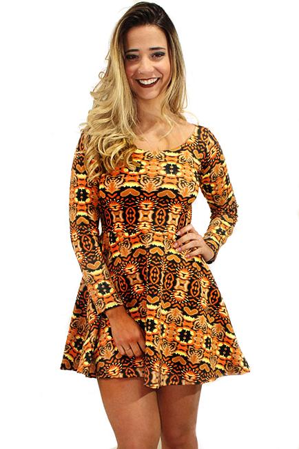 c726e8db5 Vestido Feminino Estampado Tons de Laranja Manga Longa REF  VT0010