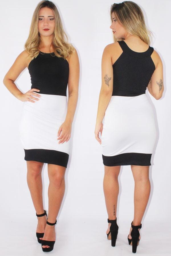 b3b4e26e15c7 Vestido Feminino Social Preto e Branco REF: V0085 - comprar online