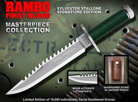 RAMBO Cuchillo First Blood Part I Sylvester Stallone Signature - comprar online