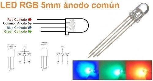 100 Led Rgb 5mm Anodo Comun 4 Patas Alto Brillo