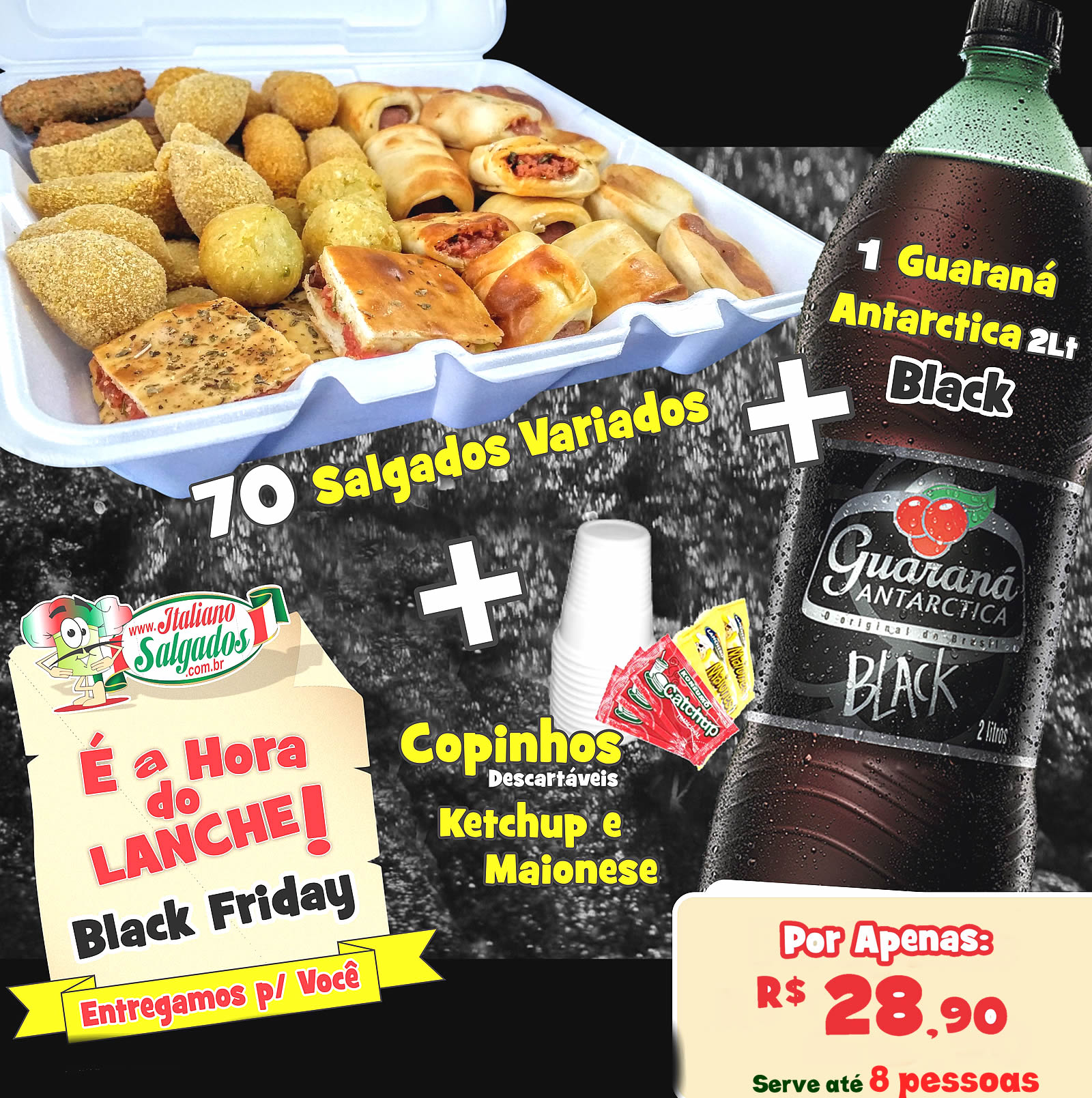 É a Hora do Lanche Black Friday com Guaraná Antarctica Black 2L.