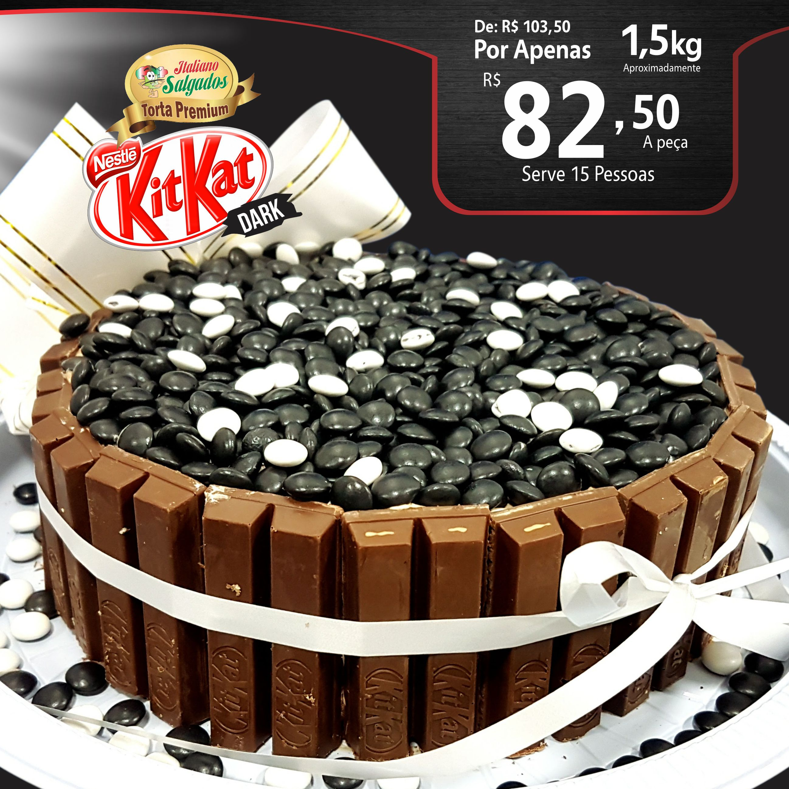 Bolo Kit Kat Dark Chocolate Meio Amargo
