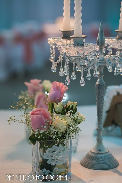 alquiler candelabros shabby chic con caireles